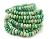 60 Czech Turquoise Picasso Mix - 5x3mm - Mix of Opaque Turquoise with Picasso Finish