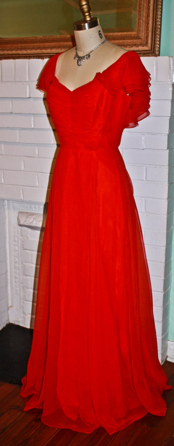 Vintage Dress 1970s Holiday Christmas Southern Belle Red