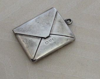 Antique Silver Envelope Locket Charm