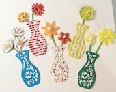 Flowers in Dainty Vases, Handmade, 5 Dainty Vases, Flowers, White, Green, Yellow, Orange, Cardstock, Scrapbooking, Cardss