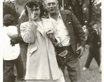 "Vintage Snapshot ""Nah Nah Nah Nah Na"" Woman Thumbs Her Nose at Photographer Black & White Found Photo Vintage Camera Cigarettes"