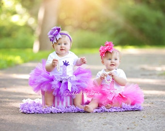 Pink and Purple Passion Twin Girls Birthday Crown Tutu Outfits-Twin Girls Birthday Set-Twin Princess Birthday Outfits *Bows NOT Included*