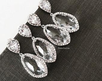 Sterling Silver Bridal Earrings Wedding Jewellery Sets Clear Rhinestone Elegant Dangling Earrings Chic Romantic Design
