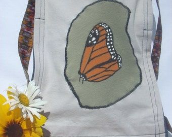 Monarch Butterfly Bag, Denim Crossbody Bag, Handpainted Purse, Upcycled Fabric Handbag, Hippie Bag, Medium Jean Handbag, Butterfly Boho Chic