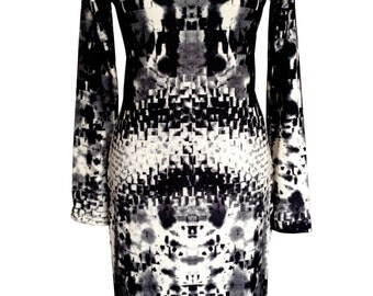 Black and White Plus Size Dress, Long Sleeves Dress, Winter Jersey Dress, Printed Dress, V Neck Dress, Day Dress, Designers Dress