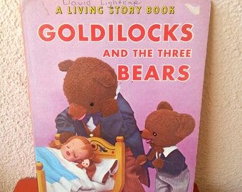 Goldilocks and the three bears Living Story book vintage 60s
