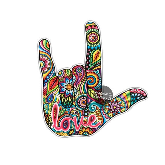 I Love You Sign Language Hand Sticker Decal Multicolor Car - Car sign language