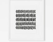 Black Graphic Art - Minimalist Abstract Artwork - Modern Crescent Moon Wall Art - Vertical Art Print - 5x7, 8x10, 11x14