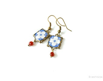 Assunçao earrings. Vintage patterned earrings Tile earrings with art nouveau style  Blue, white and red tones.