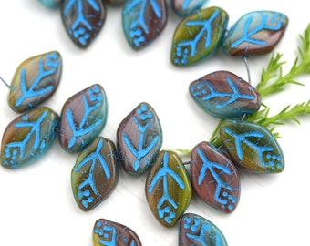 12x7mm Leaf beads, Mixed Fall color, Green, Brown, Blue, Czech glass pressed leaves - 25Pc - 1103