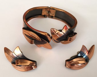 Vintage 1950s Copper Clamper Bracelet with Matching Leaf Earrings Set