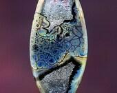 Metallic Splendor Handmade Lampworked Glass Bead OOAK Pressed Tab Focal Black Metallic Blue Aqua Green Amber Pink Lampwork