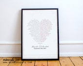Custom Heart Wedding Vows Valentine's Day Gift - Typography Print by MJDandSupply