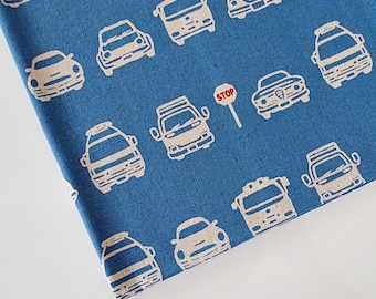 Car Fabric, Children's Fabric, Blue Fabric for Boys, Japanese Cotton Linen