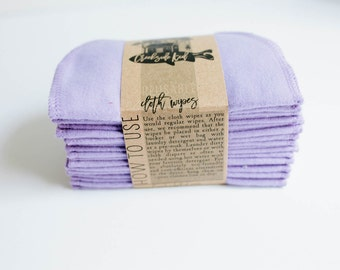 Cloth Wipes, Diaper Bag Wipes,  Baby Wipes, Family Cloth Wipes - Set of 20 - Purple Paisley Double Layer