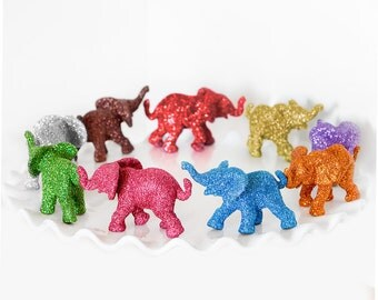 2 Custom Color Baby Glitter Elephants,Wedding Cake Topper Safari Baby Shower Decoration Jungle Nursery Decor Birthday Party.You Choose Color