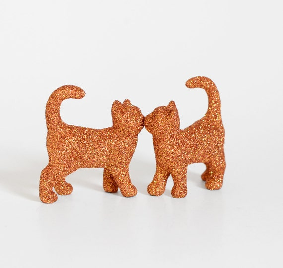 Two Kissing Glitter Kitty Cats in Orange.Cat Lady Birthday, Wedding Cake Toppers, Table Settings, Baby Showers, Nursery Decor or Centerpiece
