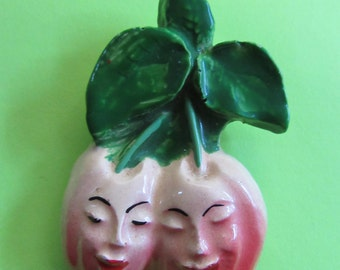 Anthropomorphic Cherries Pin Figural Brooch Fruit Vintage Costume Jewelry Cherry Smiling Faces Lucite MoonlightMartini