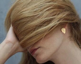 Gold Ear Earrings , Ear Studs , Human Ears Studs , Anatomical Ears Jewelry , Unique Earrings , Fun Studs For Her , Human Ears Jewelry