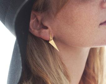 Long Earrings , Folded Earrings , Geometric Studs , Triangle Earrings , Gold Geometric Posts , Geometric Earrings , Gift for Her