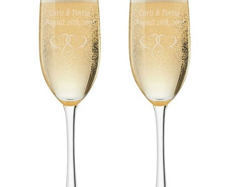 Personalized set of 2 - 6 oz. Toasting Champagne Flutes