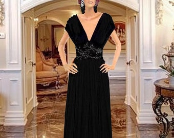 Maxi Dres Black With Jewel Center Made To Measuremnt