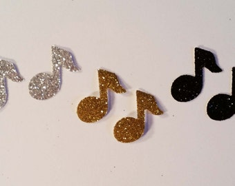 "Glittered Music Notes ~ 1"" Glittered Music Notes, Cut from Hand-Glittered Paper, Band Party, Recital, Wedding, Many Color Options!"