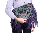 Beautiful Embroidered Clutch Tassel Fringe With Leather Removable Strap (BG4620-19C2)