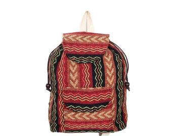 Small Woven Backpack School Bag Handmade Hmong Fabric Thailand (BG7939-1C2)