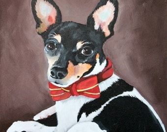 Dog portrait - pet painting - custom pet portrait - pet lover gift - acrylics from your photo - hand painted - 8x10 canvas