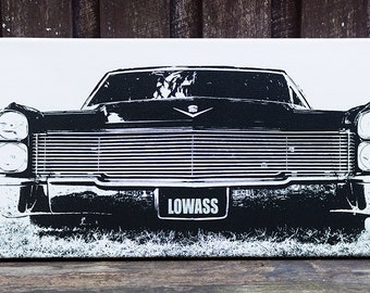 lowass, Cadillac, gangster, muscle car, classic car, black and white photography print on canvas, fathers day