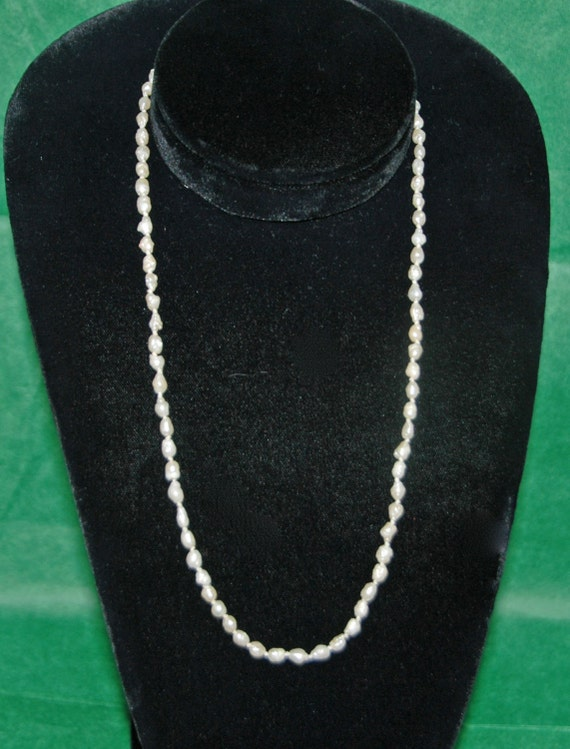 """Vintage 19"""" FRESHWATER BAROQUE PEARL Necklace 2-3 mm Pearls G F Closure 78 Pearls w/ Knots Between Exc. Condition Free Standard Shipping"""