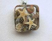Beach Jewelry, Starfish Jewelry, Seashell Jewelry - Real Seashells and Starfish Embedded Resin Pendant