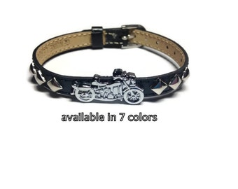 Leather Motorcycle Bracelet - Studded Genuine Leather Motorcycle Buckle Bracelet - Biker Bracelet