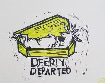 Deerly Departed linocut print
