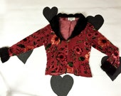 90s Red Velvet Floral Burnout Faux Fur Cuffs and Collar Drapey Top / Jacket / Party Girl / Clueless / Spice Girls / Club Kid / Buffy / M
