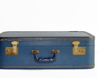 vintage blue suitcase 1950s luggage red interior