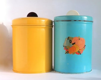 Vintage Yellow Blue Canisters Jar Bakelite Knob Tin Retro Diner Decor Storage Container Can Photo Prop Display