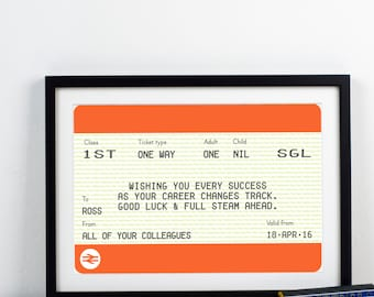 Good Luck Gift, Personalised Leaving Gift, New Job Gift, Personalised New Job Gift, Train Ticket, Sorry You're Leaving Gift, Good Luck,