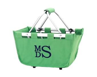 Monogrammed Mini Market Tote Green Personalized