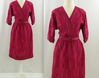 Jordache Raspberry Ripple Wrap Dress - Vintage 1980s Printed Day Dress in Medium