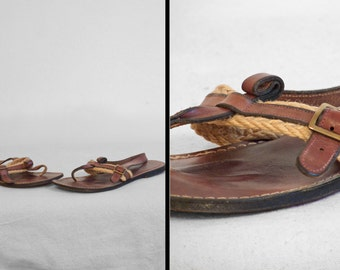 Leather GLADIATOR Sandals 60s Etienne Aigner Brown Leather + Jute Thong Size 6