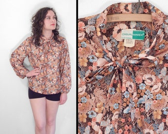 Casual Maker by Sy Frankl 70s Poppy Butterfly Bow Blouse Polyester