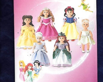 "Simplicity 1581 Disney's Cinderella, Snow White, Ariel, Sleeping Beauty, Belle & Tinkerbelle Gowns, For An 18"" American Girl Doll, UNCUT/NEW"
