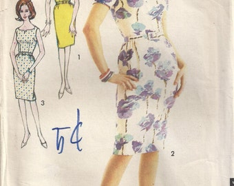 Sleeveless Dress With Three Necklines Short Sleeves Vintage Plus Size 18 Printed Sewing Pattern Sew Easy Advance 3232