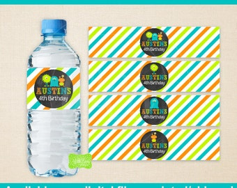 Monster Bash Water Bottle Labels - Monster Water Bottle Wraps - Little Monster Labels - Monster Bash Party Decor - Emailed & Shipped