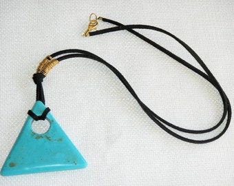 Mod Turquoise Necklace with Black Suede Cord 60s Chic Avant Garde Triangle Turquoise Magnesite Pendant on So Soft Black Suede Cord with Gold
