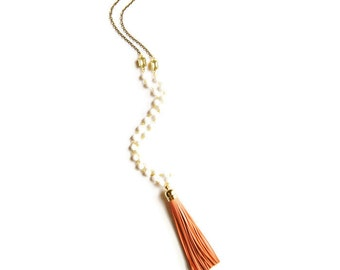Tassel Jewelry - Coral and White Necklace Tassel Jewelry