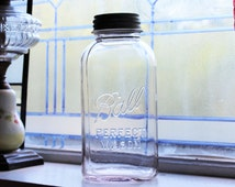 Square Ball Jar Half Gallon Ball Perfect Mason Vintage 1923 to 1933 with Zinc Lid Ring and Glass Insert