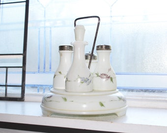 Antique Milk Glass Castor Set Victorian Decor